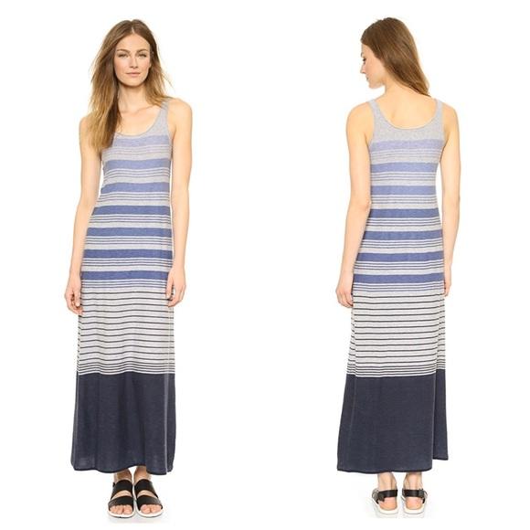 Vince Dresses & Skirts - VINCE VARIEGATED STRIPE GRAY BLUE MAXI DRESS XXS
